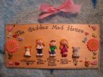 9.5 x 4 inch LGE 5 CHARACTER 3D PERSONALISED FAMILY SIGN HANDMADE PERSONALISED & UNIQUE PLAQUE OOAK